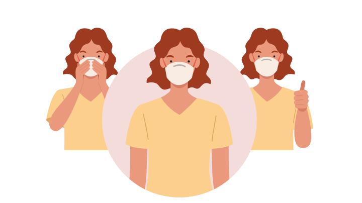 마스크 착용 시 코 부분을 눌러서 얼굴에 밀착 시켜주세요
